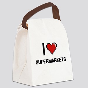 I love Supermarkets Digital Desig Canvas Lunch Bag