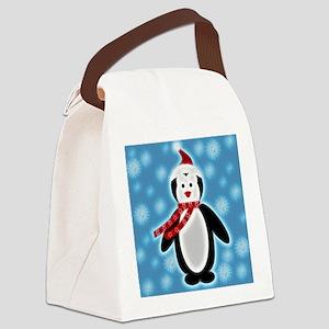 Happy X-mas Penguine Canvas Lunch Bag
