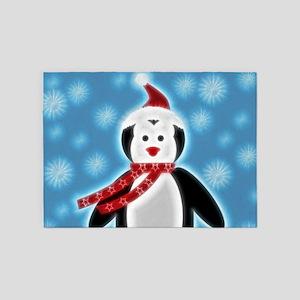 Happy X-mas Penguine 5'x7'Area Rug