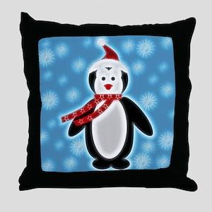 Happy X-mas Penguine Throw Pillow