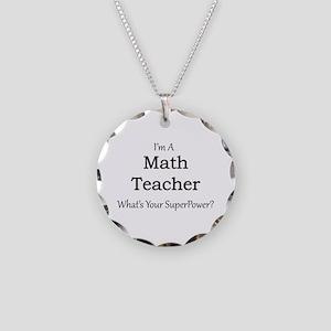 Math Teacher Necklace Circle Charm