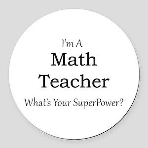 Math Teacher Round Car Magnet
