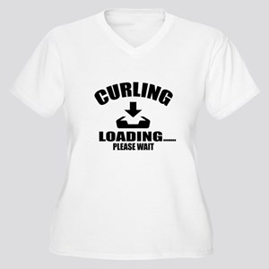 Curling Loading P Women's Plus Size V-Neck T-Shirt