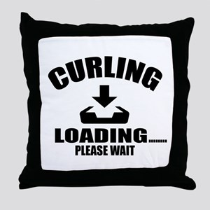 Curling Loading Please Wait Throw Pillow