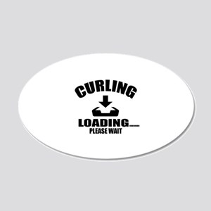 Curling Loading Please Wait 20x12 Oval Wall Decal
