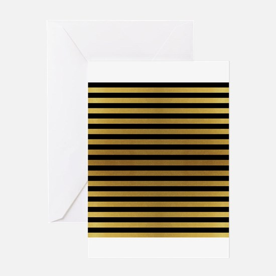Black Gold Bold Stripes Greeting Cards