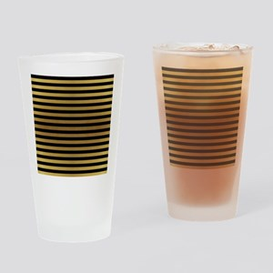 Black Gold Bold Stripes Drinking Glass