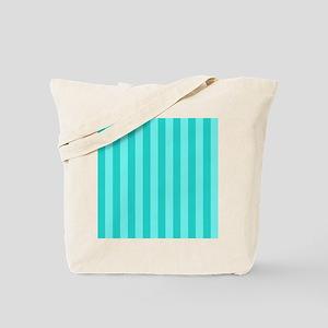 Aqua Blue Bold Vertical Stripes Tote Bag