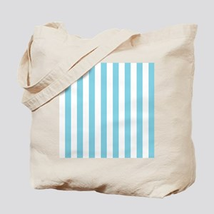 Baby Blue White Bold Vertical Stripes Tote Bag