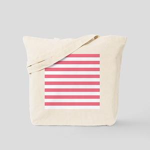Coral Pink White Horizontal Bold Stripes Tote Bag