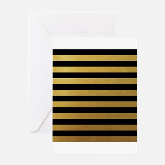 Black Gold Bold Horizontal Stripes Greeting Cards