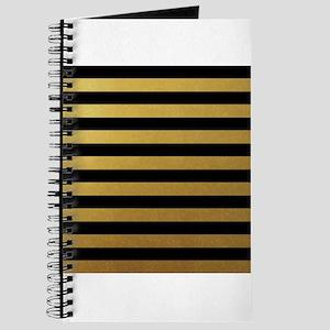 Black Gold Bold Horizontal Stripes Journal