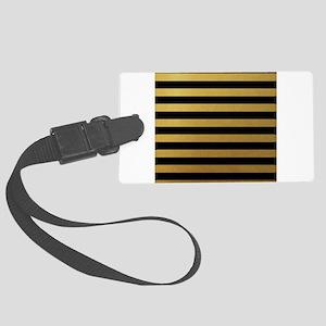 Black Gold Bold Horizontal Stripes Luggage Tag