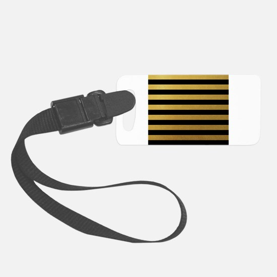 Black Gold Bold Horizontal Stripes Luggage Tag