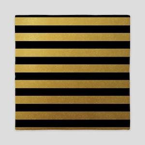 Black Gold Bold Horizontal Stripes Queen Duvet