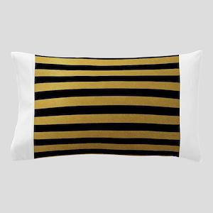 Black Gold Bold Horizontal Stripes Pillow Case