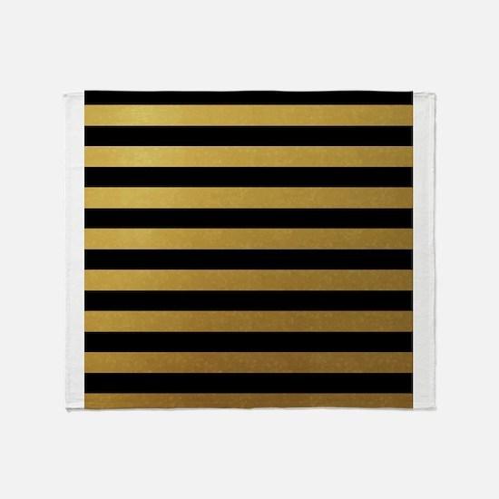 Black Gold Bold Horizontal Stripes Throw Blanket