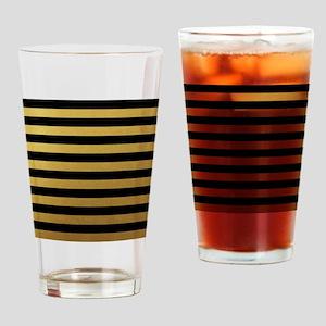 Black Gold Bold Horizontal Stripes Drinking Glass