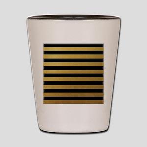 Black Gold Bold Horizontal Stripes Shot Glass