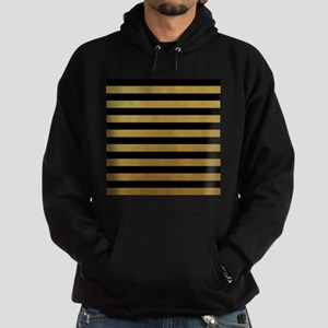 Black Gold Bold Horizontal Stripes Hoodie