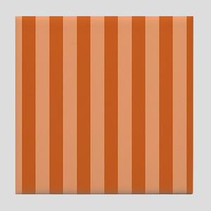 Orange Bold Vertical Stripes Tile Coaster