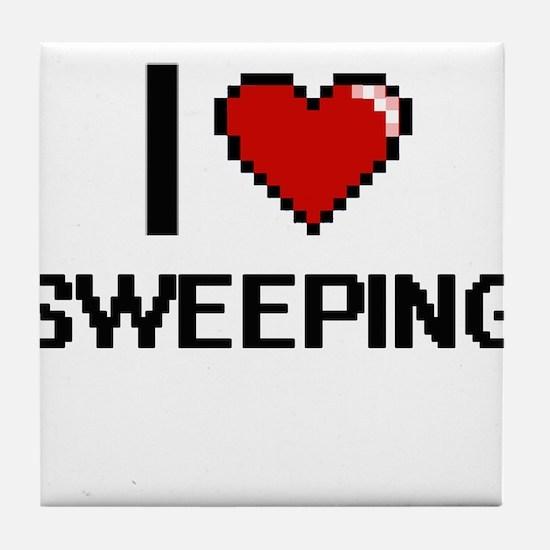 I love Sweeping Digital Design Tile Coaster