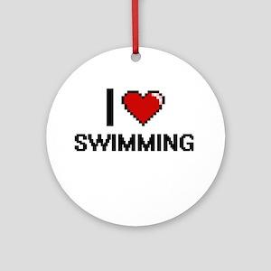 I Love Swimming Digital Design Round Ornament