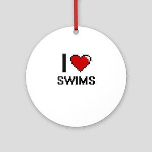 I love Swims Digital Design Round Ornament