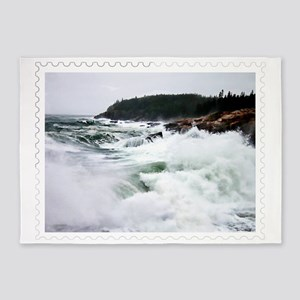 Heavy Seas at Acadia National Park  5'x7'Area Rug
