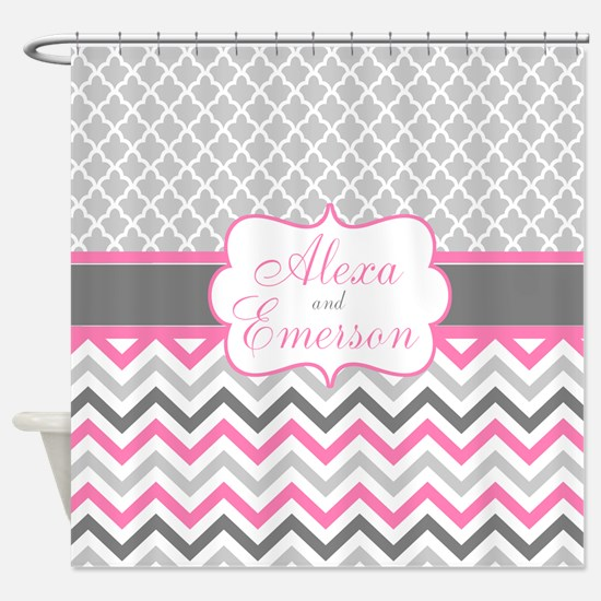 Gray Pink Quatrefoil Personalized Shower Curtain