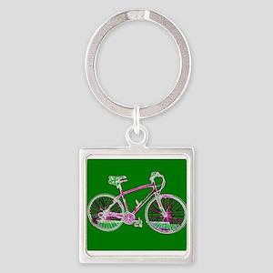 Green Bicycle Wondrous Velo Aluminum Keychains