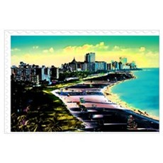 Surreal Colors of Miami Florida Stamp Framed Print