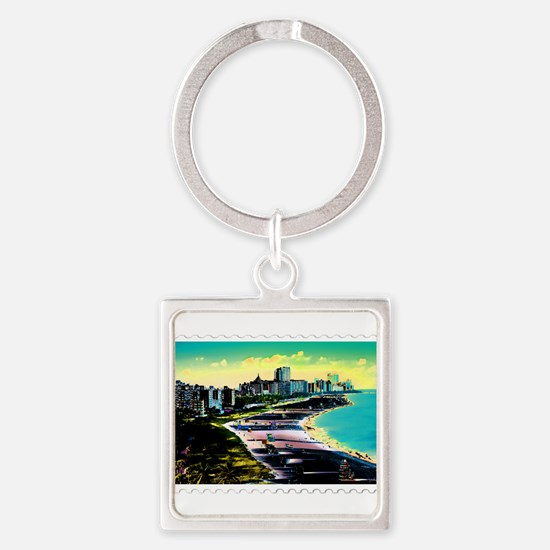 Surreal Colors of Miami Florida Stamp Keychains