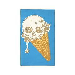 Cute Skull Ice Cream Cone Area Rug