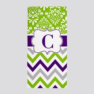 Lime Purple Damask Chevron Monogram Beach Towel
