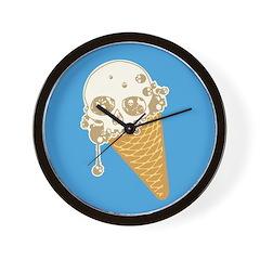 Cute Skull Ice Cream Cone Wall Clock