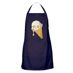 Cute Skull Ice Cream Cone Apron (dark)
