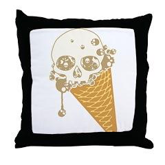 Cute Skull Ice Cream Cone Throw Pillow