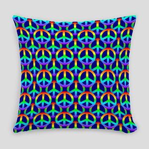 Rainbow Peace Sign Everyday Pillow