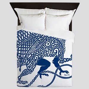 Celtic Knotwork Dragon, Blue Queen Duvet