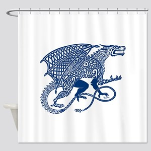 Celtic Knotwork Dragon, Blue Shower Curtain