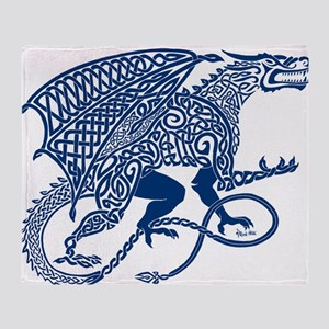 Celtic Knotwork Dragon, Blue Throw Blanket