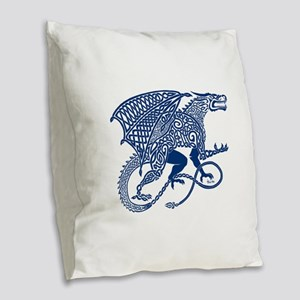 Celtic Knotwork Dragon, Blue Burlap Throw Pillow