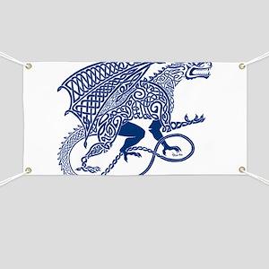 Celtic Knotwork Dragon, Blue Banner