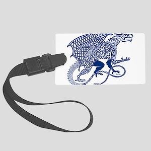 Celtic Knotwork Dragon, Blue Large Luggage Tag