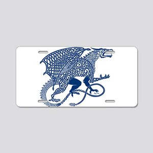 Celtic Knotwork Dragon, Blu Aluminum License Plate