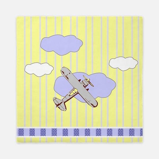 Little Cloud Airplane Yellow Stripes Queen Duvet