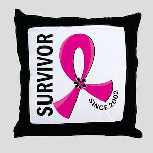 Survivor Since 2002 12.2 Breast Cance Throw Pillow