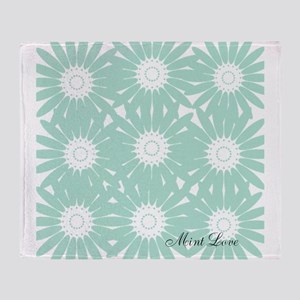 Cute Mint Floral Throw Blanket