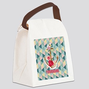 Vintage Floral Anchor Personalize Canvas Lunch Bag